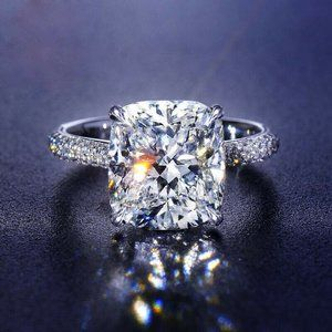 Diamond Square Cut White Topaz Ring Ring Size 6